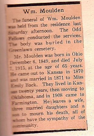 William Moulden Obit.