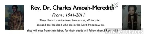 Charles Meredith-Amoah, 2011 Memorial Card