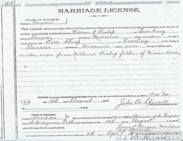 Marriage License of William Nathaniel Bishop