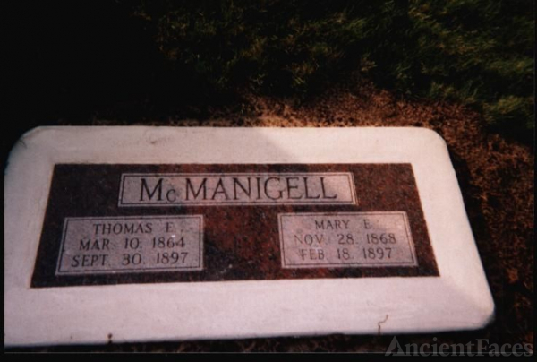 Grave site of Thomas and Mary McManigell