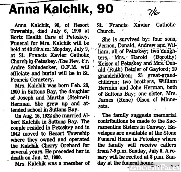 Anna Kalchik Obituary. Michigan
