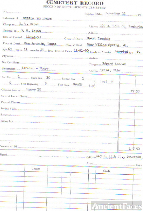 Mattie May Payne-Brown Cemetery Record