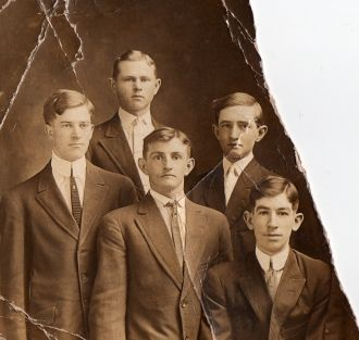 Five unknown young men
