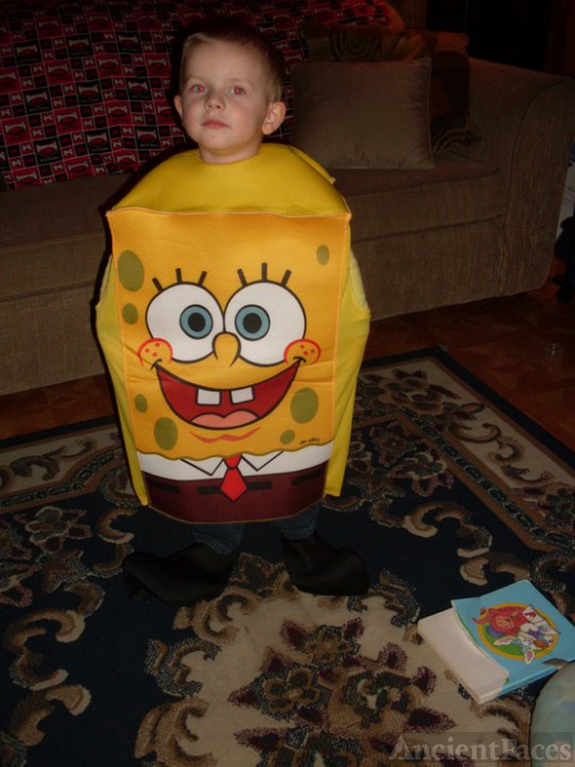 Mikey Parsley in his Sponge Bob costume