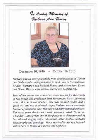 In Loving Memory of Barbara Ann Wyrens Honey