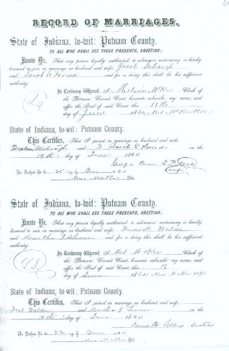 Jacob P. Stobaugh and Sarah Elizabeth Herod Marriage License