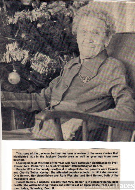 AUNT SYBIL KEELEY ROMER AT 100