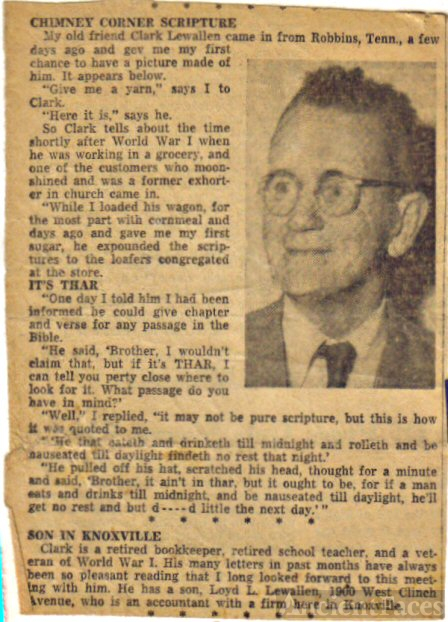 Clark Lewallen Newspaper Photograph