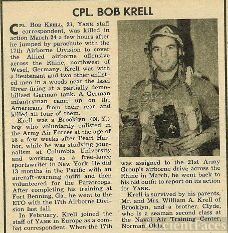 CPL. BOB KRELL of New York, KIA