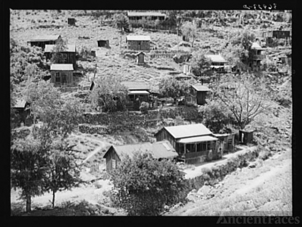 Houses of miners on side of hill at Mogollon, New Mexico