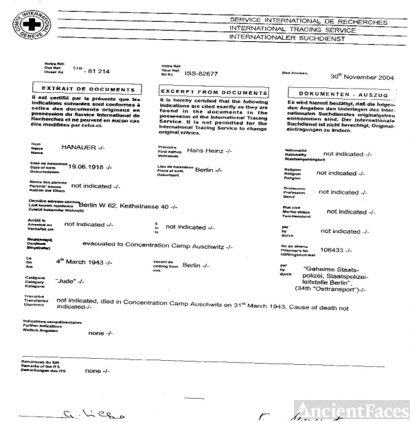 Death document for Hans Heinz Hanauer