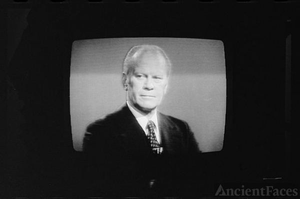 [President Gerald Ford on television during 1st...