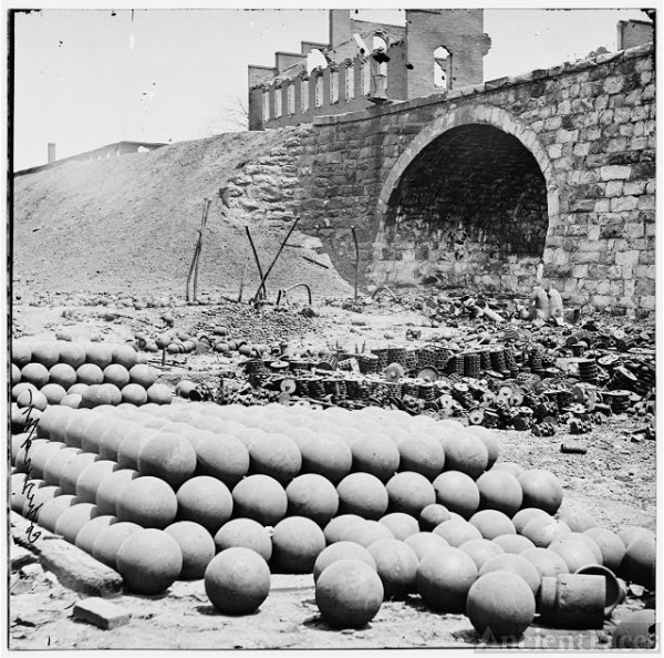 [Richmond, Va. Piles of solid shot, canister, etc., in...