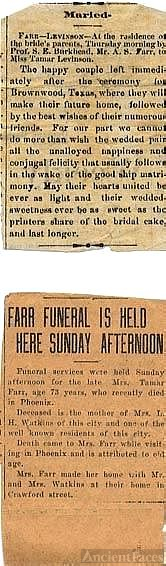 Levinson/Farr marriage; Farr funeral