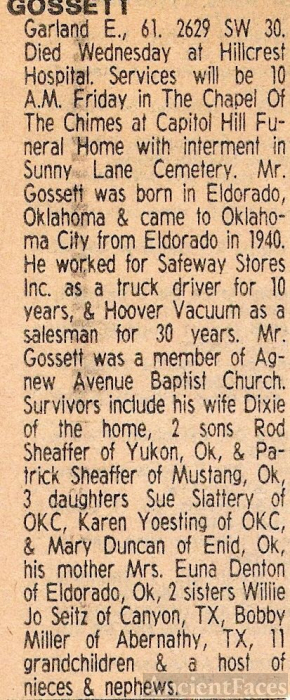 1981 Obituary of Garland E. Gossett, Okla City, OK