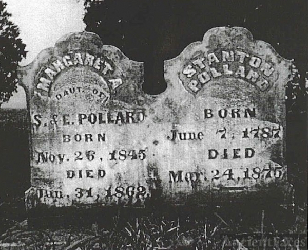 Tombstone of Stanton Pollard & his daughter