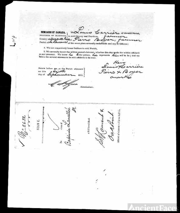 document of great grandfather jean baptist