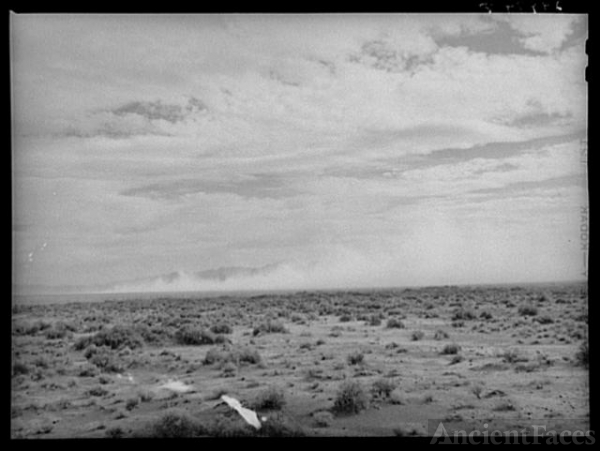 Dust storm on desert. Nye County, Nevada