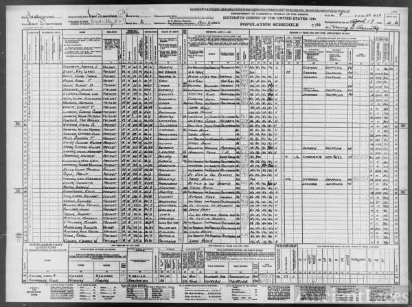 1940 Census, U.S. Marine Hospital, CA