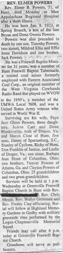 Obituary Of Elmer B. Powers