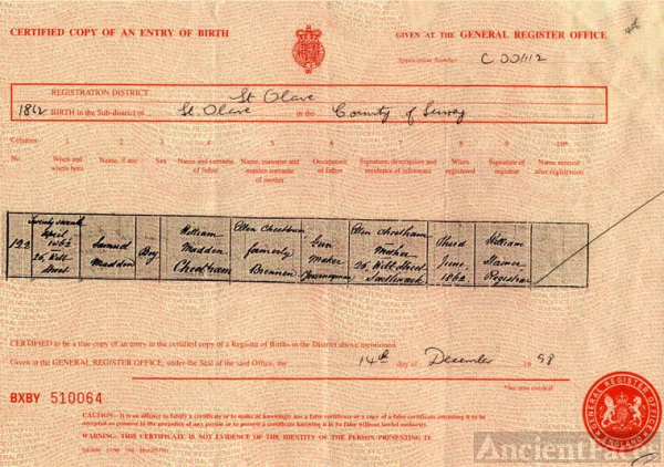 Birth Certificate of Samuel Maddon Cheetham