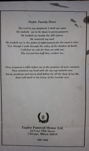 Herbert Johnson funeral card 2