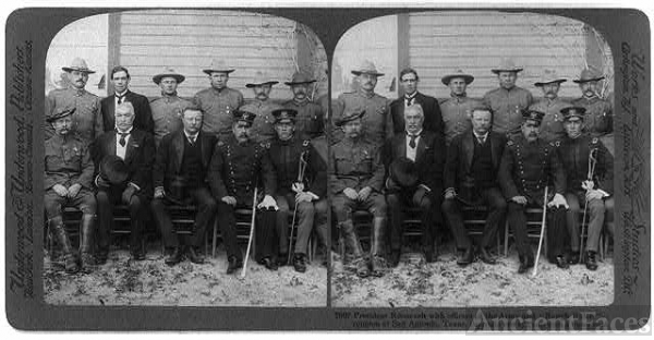 "President Roosevelt with officers of the army and ""Rough..."