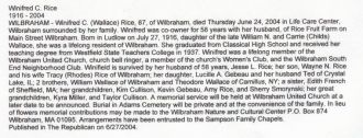 Winnifred Rice Obituary