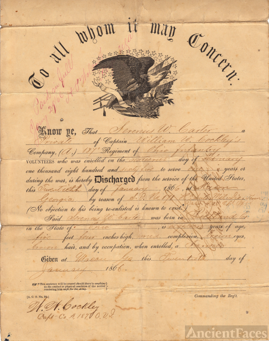 Serenus Warren Carter, Civil War discharge