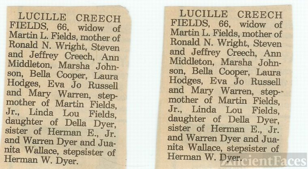 Death Notice of Lucille{Dyer} Wright,Creech,Fields