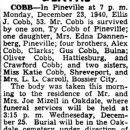 Ellis James Cobb Obituary 1940