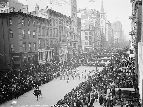 Policemen's parade, Fifth Avenue, New York