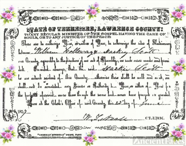 Holloway & Scott Marriage Certificate