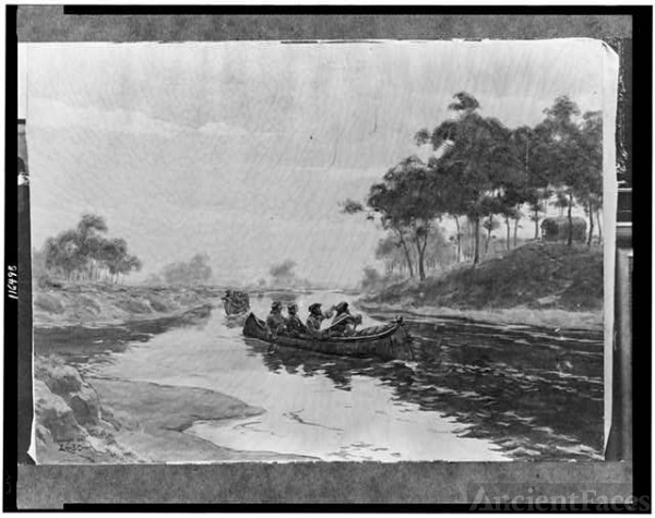 [Jacques Marquette and Louis Joliet in canoe, with two...