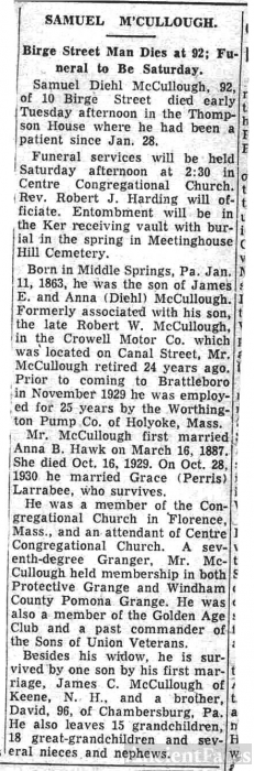 Samuel McCullough, 1955 obituary Vermont