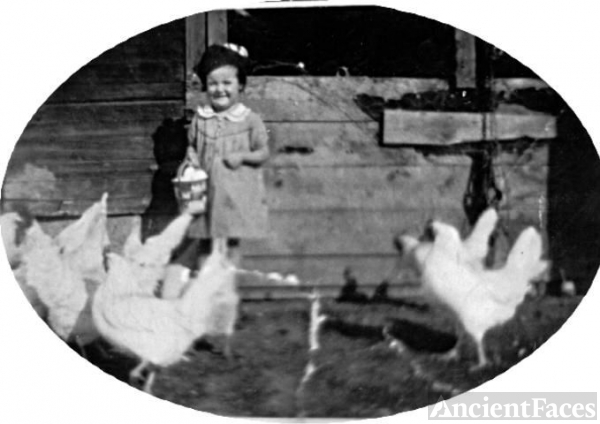 Little girl with chickens