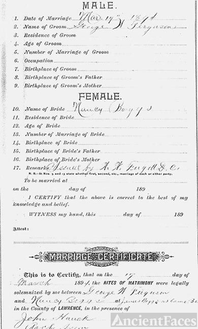 Boggs & Ferguson Marriage Certificate