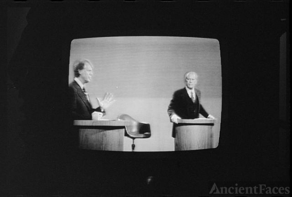 [President Gerald Ford and Jimmy Carter on television...