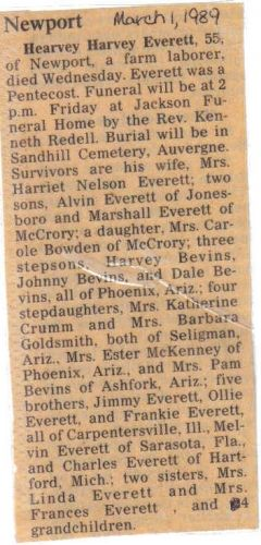 Hearvey Harvey Everett Obit