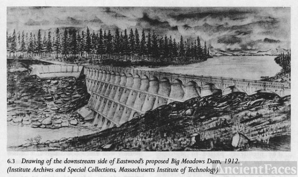 Drawing of the downstream side of Eastwood's proposed Big...