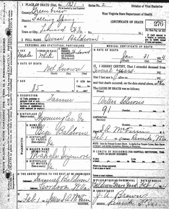 Death Certificate of Owen Baldwin