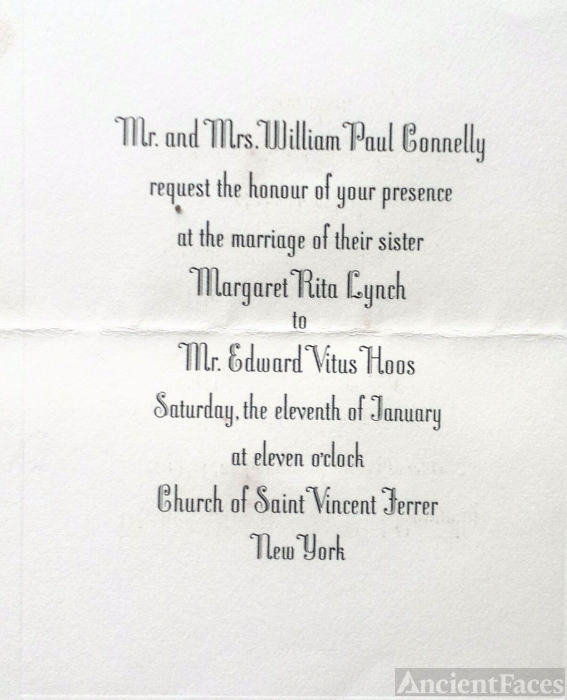 Margaret R Hoos wedding invitation