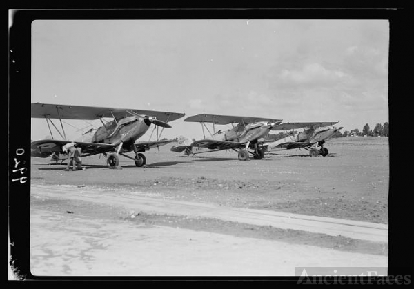 R.A.F. activities. Stand by planes on Ramleh Aerodrome
