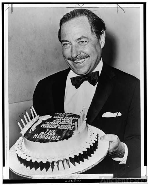 "Tennessee Williams with ""birthday"" cake for the 20th..."