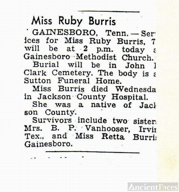 Ruby Pearl BURRIS obit. - 17 July 1891 - 07 November 1962