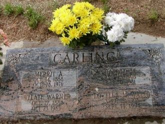 Gravestone of Merrit Carling & Julia Warner