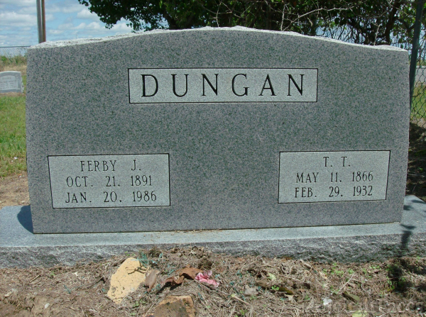 Thomas & Ferby  Dungan's headstone