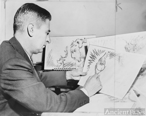Dr Seuss drawing the Grinch 1957