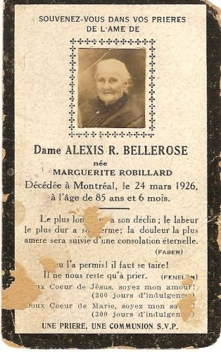 A photo of Marguerite (Robillard) Bellerose