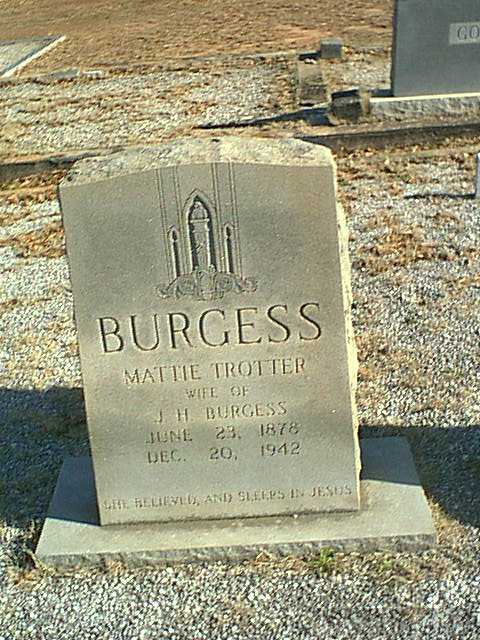 Mattie Trotter Burgess Gravestone, South Carolina